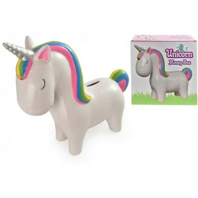 Large Unicorn Ceramic Money Box with Rainbow Mane & Tail Piggy Bank New