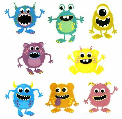 "13368-AAC New Design Little Monsters 7-1/4"" X 7-1/4"" Sheet Ceramic Decals Dx"