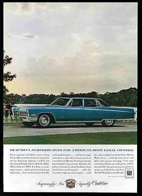 1969 Cadillac Fleetwood blue car photo vintage print ad