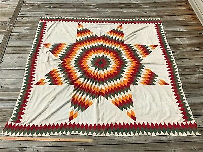 Antique Star Quilt Top Sawtooth Border Cheddar Green Red White Vintage