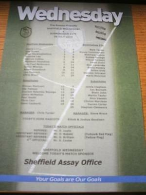 28/07/2004 Colour Teamsheet: Sheffield Wednesday v Birm