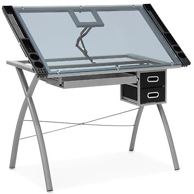 BCP Adjustable Drafting Table w/ Glass Top and Drawers - Silver/Black