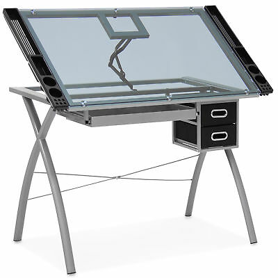 Office Drawing Desk Station Tempered Glass Adjustable Drafting Table W/ Drawers