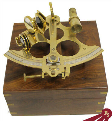 "8"" SEXTANT - Brass with Wood Box - Astrolabe Navigation"