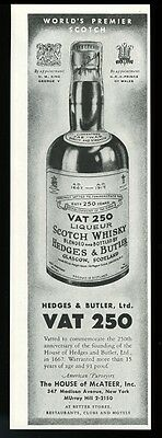 1934 Vat 250 Scotch whisky bottle photo vintage print ad
