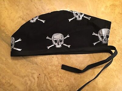 Surgical Scrub Hats/Cap Halloween Silver Sparkling Skull And Crossbones