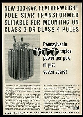 1960 Pennsylvania 333-KVA Pole Star transformer photo print ad