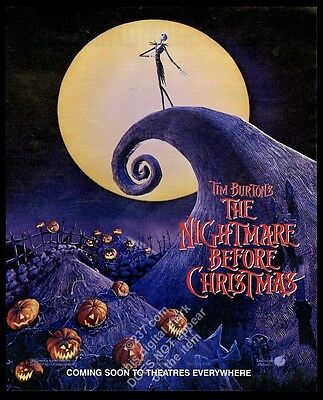 1993 The Nightmare Before Christmas movie advance release vintage print ad
