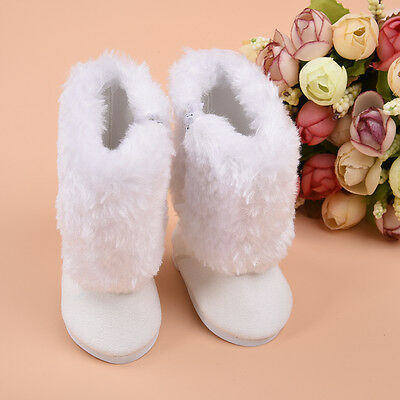 Handmade Cute White Boot Shoes For 18 Inch Doll Toy Party Clothing