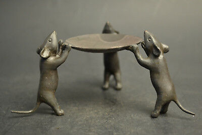 China Collectible Decor Handwork Old Copper 3 Mice Delicate Candlestick Nice