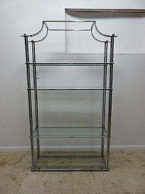 Vintage Milo Baughman Chrome Asian Inspire Chinoiserie Shelf Display Etajere