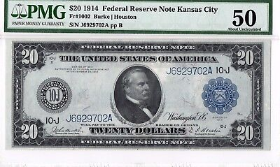 $20 1914 Federal Reserve Note Kansas City, FR-1002 PMG-50