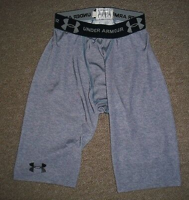 Men's Under Armour Heatgear Long Gray Compression Shorts Medium