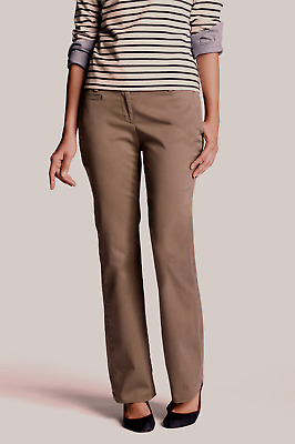 New Lands End Womens Fit 1 Stretch Chino Bootleg Pants - Brown - 4P Petite