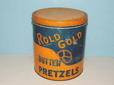 Vintage Copyright 1928 Rold Gold Butter Pretzels Advertising Tin, American Cone