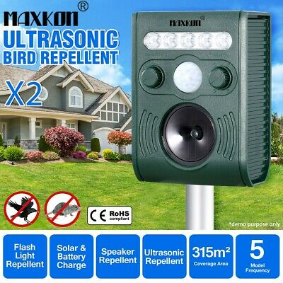 2x Ultrasonic Bird Animal Repeller Pest Repellent with Large Solar Power Plate