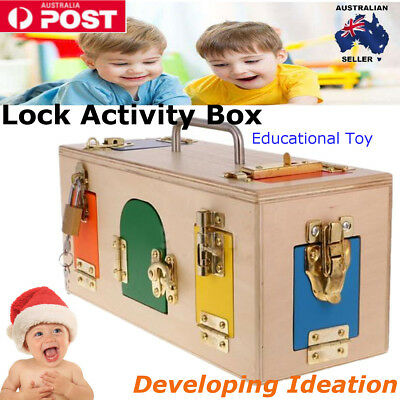 Wooden Montessori Practical Material Lock Activity Box Kids Educational Toy
