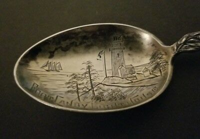 Columbia River Washington Fort Canby Lighthouse Antique Sterling Silver Spoon