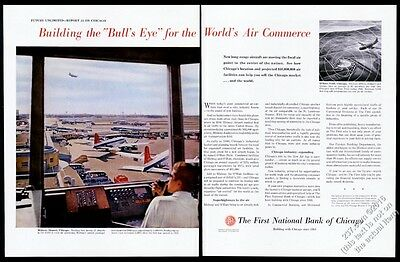 1957 Chicago Midway Airport plane control tower photo First National Bank ad
