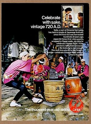 1972 Japan Airlines sake and drummers photo vintage print ad