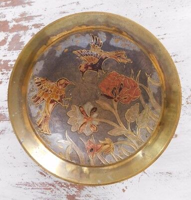 Vtg Antique Patina Brass Hummingbird Floral Bowl Victorian Ornate Etched Colored