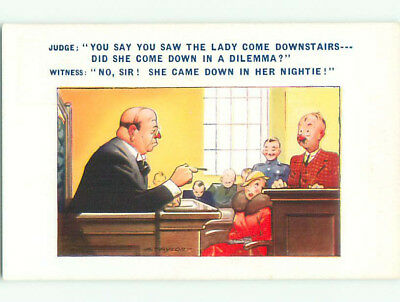 Unused Bamforth comic signed WOMAN IN COURT ROOM WAS IN HER NIGHTGOWN k7995-22