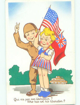 Unused 1940's military FRENCH POSTCARD - USA & UK ARE LIBERATORS OF FRANCE k3492