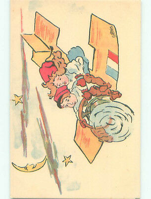 Unused Pre-Linen military signed FRENCH GIRL AND BOY FLY IN WWI AIRPLANE k6204