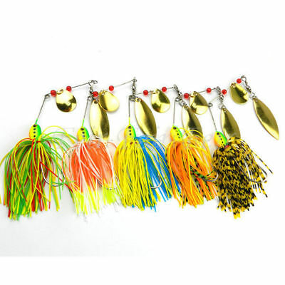 5pcs Fishing Spinner Lures Bass CrankBait Bait Tackle Crank Hook Pike Bass Lure