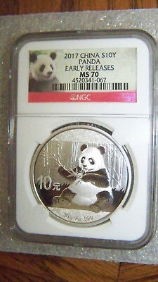 2017 30 gram .999 Silver China Panda 10Y NGC MS70 Early Releases Panda Label