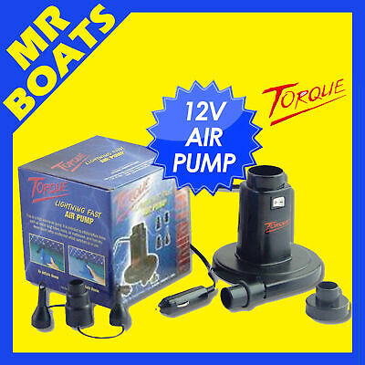 TORQUE 12V INFLATOR DEFLATOR AIR PUMP Inflatable Ski Biscuit Tube Bed FREE POST