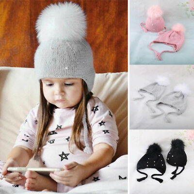 US Stock Cute Winter Warm Kids Baby Boy Girls Toddler Fur Knitted Beanie Hat Cap