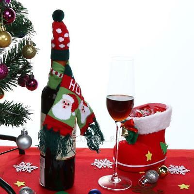 Wine Hold Bottle Cover Knitted Christmas Scarf and Hat Decor