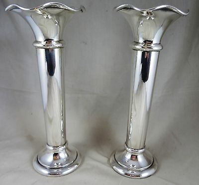"Pair of Walker & Hall Silver Plate 8"" Fluted Trumpet Vases"