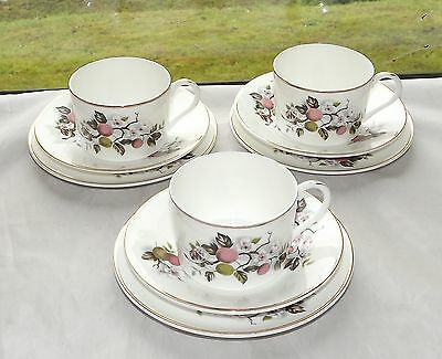 Bone China Made in England Lovely Apple Blossom 3 x Trios Cups & Saucers Plates