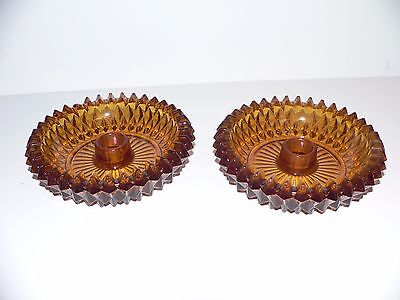 VINTAGE  Amber Indiana Glass Diamond Point Style Candle Holders - Set of 2
