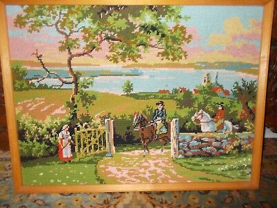 Framed Needlepoint embroidery Cross Stitch Country Scene Horses Lake Castle