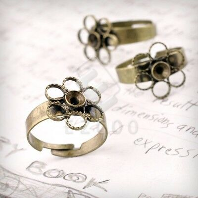 5/10pcs Ring Mountings Engagement Settings Flower Antique Brass Jewellery 4 Size
