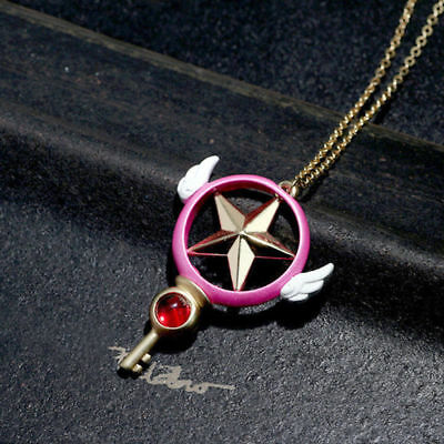 US Star Wand Key Pendant Metal Necklace COS Anime Card Captor Sakura Kinomoto