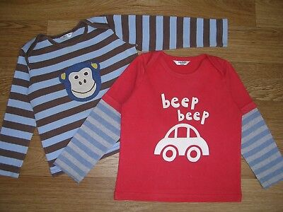 Two MINI BODEN Boys Long Sleeve T-Shirt Tops Monkey Car Age 18-24m Brown Red