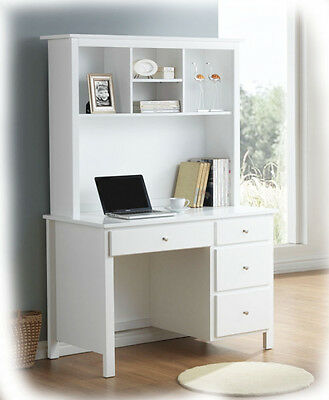 Bobby 4 Drawer White Hardwood Timber Desk & Hutch - Fully Assembled - BRAND NEW