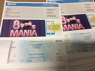 2 tickets 80s Mania - Enmore Theatre - 11 November