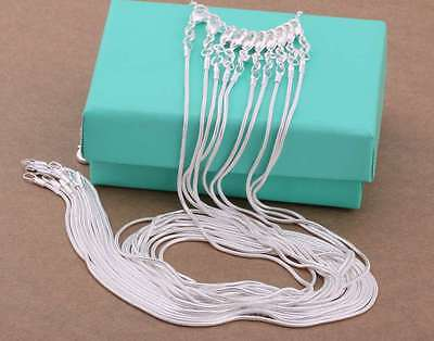 Fashion 925 Sterling Solid Silver Lots 10PCS 1MM Snake Chain Necklace 16-30Inch