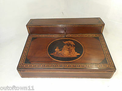 Antique inlaid Sorrento Ware Writing Slope Box