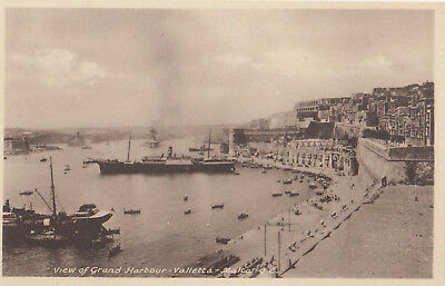 Ak View Of Grand Harbour Valleta Malta Ungel. (G3923)