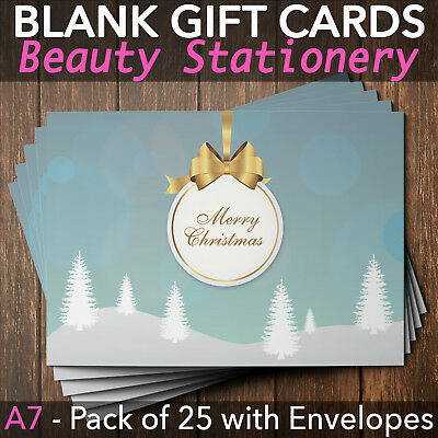 Christmas Gift Voucher Blank Beauty Salon Card Nail Massage x25 A7+Envelopes