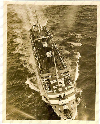 1939 NEW YORK Harbor - The liner S.S. IROQUOIS in an air view - Photo 18x24 cm