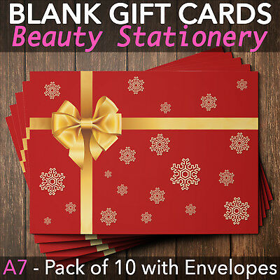 Christmas Gift Vouchers Blank Beauty Salon Card Nail Massage x10 A7+Envelope RG
