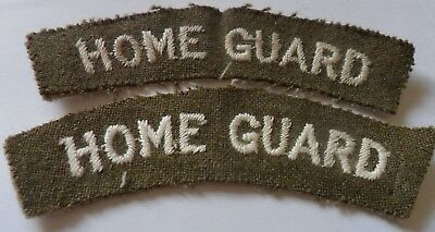 WW2 Pair of Home Guard Embroidered Shoulder Titles, White on Khaki