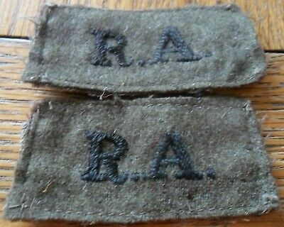 WW2 Pair of RA (Royal Artillery) Embroidered Slip On Shoulder Titles